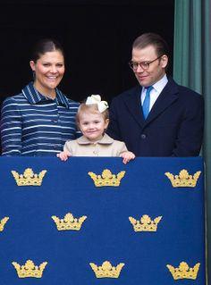 Crown Princess Victoria, Princess Estelle and Prince Daniel of Sweden.