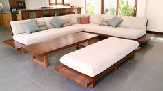 Reclaimed teak wod sofa for living room
