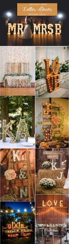 Rustic country letter wedding centerpiece decor ideas / http://www.deerpearlflowers.com/rustic-wedding-themes-ideas/2/