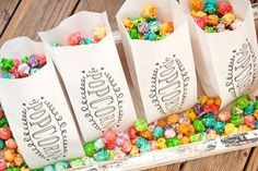 Popcorn Wedding or Shower Favor Bags  - Popcorn Swirl Design -  Birthday, Celebration, Party - 25 Tall White Favor Bags in each Pack