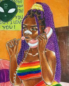 Get off ma phone Black Love Art, Black Girl Art, Art Girl, Black Art Painting, Black Artwork, Drawings Of Black Girls, Arte Black, Photographie Portrait Inspiration, Black Girl Cartoon