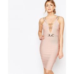 Forever Unique Bandage Midi Dress with Chain Detail (£110) ❤ liked on Polyvore featuring dresses, pink, pink dress, bandage dress, pink cocktail dress, bodycon bandage dress and white bodycon dress