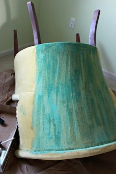 Paint the fabric on that old chair! Yes, it can be done!