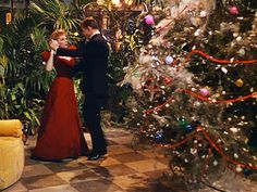 "Judy Garland at the Christmas ball in ""Meet Me in St. Louis"" 1944.  Her red velvet gown is just gorgeous!"