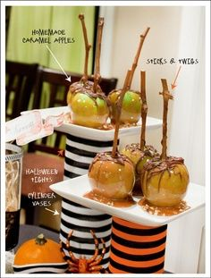 Caramel apples with real sticks