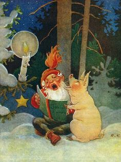 Pig and gnome singing in winter forest Old Christmas, Christmas Gnome, Vintage Christmas Cards, Christmas Pictures, Baumgarten, Kobold, Inspiration Art, Elves And Fairies, Christmas Illustration