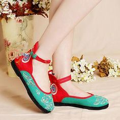 Embroidered Color-Block Flats from #YesStyle <3 Eastwalk YesStyle.com