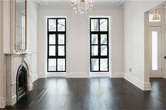 townhouse rowhouse brownstone parlor floor - dark wood floors white walls modern windows