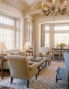 David Easton Creates a French Country Inspired Retreat Outside of Aspen - French Country living room - French Country Living Room, French Country Decorating, French Country Interiors, Home Living Room, Living Spaces, Cottage Living, Piece A Vivre, Tuscan Style, Tuscan Design