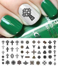 "Celtic Cross Art #1  St. Patrick's Day Luck of the Irish Nail Decal Assortment  - 5 1/2"" x 3"" sheet"