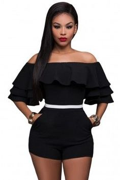 124ff2fb9fbc La Chilly sexy party Rompers Elegant Jumpsuit Casual 2017 women macacao  feminino Black Ruffle Off Shoulder Party Romper