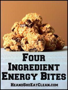 Clean Eat Recipe :: Four Ingredient Energy Bites #eatclean #heandsheeatclean #energybites #fouringredient #recipe #snack #kidfriendly