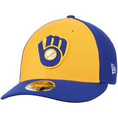 Milwaukee Brewers New Era Diamond Era 59FIFTY Low Profile Fitted Hat - Gold/Royal