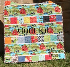 onki-a-doodle fabric | Quilt Kit Oink A Doodle Moo Farm Blanket Showcase Pattern and Backing