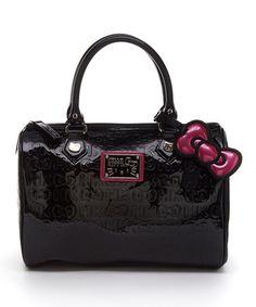 Loving this Black & Pink-Trim Hello Kitty Embossed Satchel on #zulily! #zulilyfinds