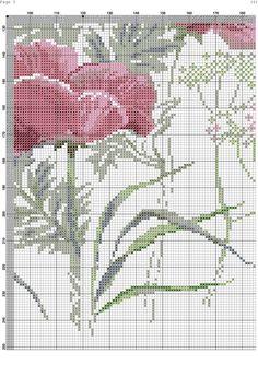 Vallmo 5 Cross Stitch Bird, Cross Stitch Flowers, Cross Stitching, Shawl Patterns, Cross Stitch Patterns, Pink Peonies, Blackwork, Needlepoint, Poppies