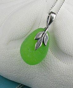Lime  Sea Glass Pendant Necklace #sea glass beads & #sea charms: http://www.ecrafty.com/c-780-sea-glass-beads.aspx?pagenum=1===newarrivals=60