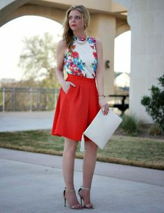 Mirrored floral pattern & bright full midi skirt. Spring outfit ideas.