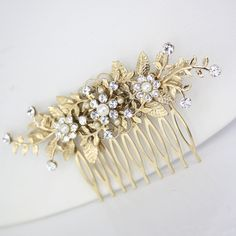 Gold Bridal Comb, Wedding Hair Accessories, leaf hair comb, ivory pearl and rhinestone. GENOA DELUXE.  via Etsy.