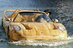 """The wooden car/boat for the """"streets"""" of Venice."""