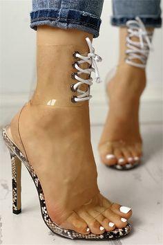 Shop Transparent Lace-Up Single Strap Heeled Sandals right now, get great deals at joyshoetique High Heels Outfit, Hot High Heels, Shoes Heels, Heeled Sandals, Sandals Outfit, Aldo Shoes, Single Strap Heels, Stripper Heels, Prom Heels