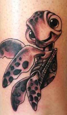 Cartoon turtle tattoo