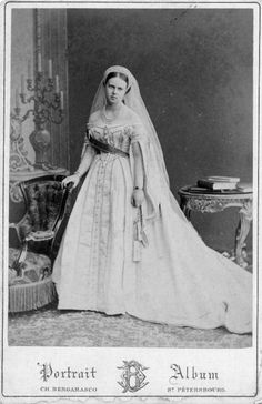 Grand Duchess Maria Alexandrovna of Russia (later Duchess of Edinburgh and Duchess of Saxe-Coburg and Gotha), daughter of Alexander II and Empress Maria Alexandrovna. Maria became the wife of Prince Alfred, Duke of Edinburgh, the second son of Queen Victoria and Prince Albert. From 1893 until her death, she had the distinction of being a Russian grand duchess (by birth), a British princess and royal duchess (by marriage), and the consort (and later widow) of a German sovereign duke.