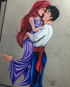 Ariel & Eric - Disney Princess Drawings by Max Stephen. How do they colour like this? I want to learn! Disney Princess Drawings, Disney Princess Art, Disney Fan Art, Disney Drawings, Disney Love, Disney Magic, Disney Pixar, Disney And Dreamworks, Disney Animation