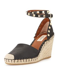 S08VW Valentino Rockstud Ankle-Wrap Espadrille Wedge, Black/Light Cuir