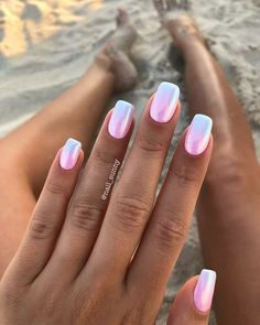 A manicure is a cosmetic elegance therapy for the finger nails and hands. A manicure could deal with just the hands, just the nails, or Hot Pink Nails, Pink Nail Art, Pink Chrome Nails, Pink Summer Nails, Ombre Nail Colors, Pink Ombre Nails, Metallic Nails, Ombre Nail Art, Bright Nails For Summer