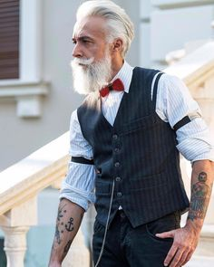 Beards & Tattoos : alessandromanfredini: • ELEGANCE IS THE ONLY...| Cute for an older gentleman!