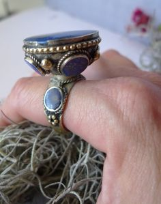 lapis  lazuli  ring silver champagne tribal ring  by cozystudio, $775.00