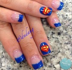 nice Superman Nail Art Design Step By Step ~ Entertainment News, Photos & Videos - Calgary, Edmonton, Toronto, Canada - Pepino Nail Art Design Get Nails, Love Nails, How To Do Nails, Pretty Nails, Superman Nails, Superhero Nails, Batman, Superman Logo, Spiderman