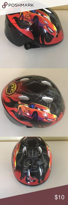 """Disney Cars Toddler Boys Bike Helmet Brand new, never used. My son received it as a gift but his head was already too big for it! It is designed to fit head sizes 18.9-20.4"""", so definitely measure your kid's noggin 😉 Disney Other"""
