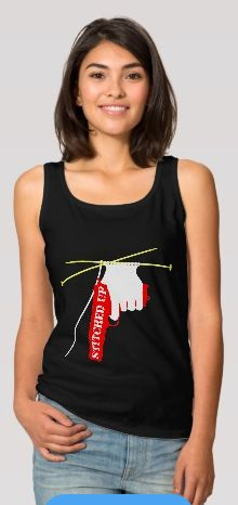 Stitched Up Knitted Gun Basic Tank Top, a great shirt for your next court appearance