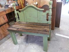 Headboard bench Beth Derrick so mad we didn't take those head and foot boards he had some good ideas for it this is one of them