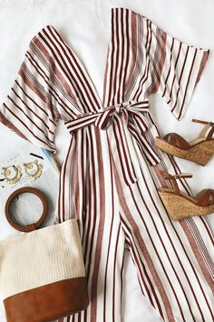 The Lulus Hook, Line, and Sinker Rust Red Striped Jumpsuit has . The Lulus Hook, Line, and Sinker Rust Red Striped Jumpsuit has caught our eye and - Mode Outfits, Dress Outfits, Casual Outfits, Fashion Outfits, Womens Fashion, Fashion Trends, Jumpsuit Outfit, Fashion Ideas, Dress Fashion