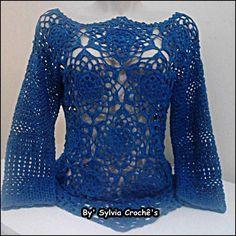 Blusa rendada em crochê confeccionada com a linha anne tamanho 38/40...outras cores e tamanhos consultar preço!