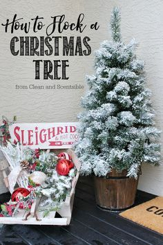 Try this simple DIY on how to flock a Christmas tree for that gorgeous snow-covered look!