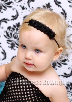 Black Pearl Roses on Black Baby Bitty Little Band: Baby Headbands & Hair Bows at Princess Bowtique