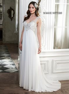 Grecian chiffon sheath gown with Swarovski crystals and keyhole back, Joy by Maggie Sottero.