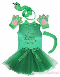>> Click to Buy << Party Kids 3D Green Snake 6PC Headband Paw Tail Bow Shirt Gauze Skirt Costume #Affiliate