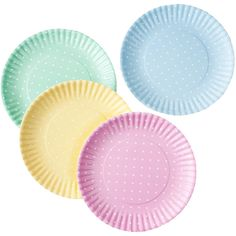 Dot & Bo Pastel Polka Dot Plates - Set of 4 ($20) ❤ liked on Polyvore featuring home, kitchen & dining, decor, fillers and kitchen