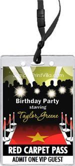 Red Carpet Theme Birthday Party   Red Carpet Paparazzi VIP Pass Invitation