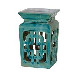 Square, ceramic garden stool in turquoise.