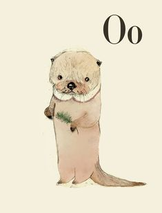 O for Otter - Alphabet art - Alphabet print - wall art - ABC print - Nursery art - Nursery decor - Kids room decor - Children's art