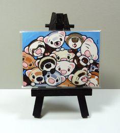 16 Ferrets ACEO Art Print from Original Painting - Shelly Mundel #FerretArt