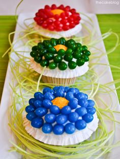 Jelly Bean Flower Cupcakes