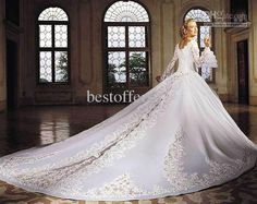 Wholesale ivory off the shoulder Ball Gown Wedding Dresses with Lace Long Sleeves amp; Cathedral Train JM035, Free shipping, $250.0/Piece | DHgate