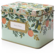 Rifle Paper Co. Tin Recipe Box ($34) ❤ liked on Polyvore featuring home, kitchen & dining, food storage containers, kitchen, filler, decor, other, citrus floral, recipe tin and tin recipe box